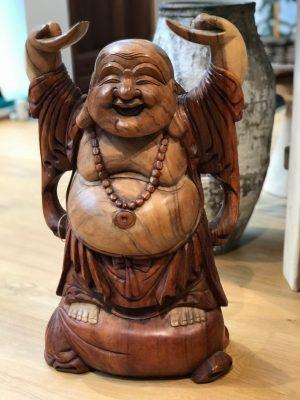 Stor Happy Buddha træfigur 5
