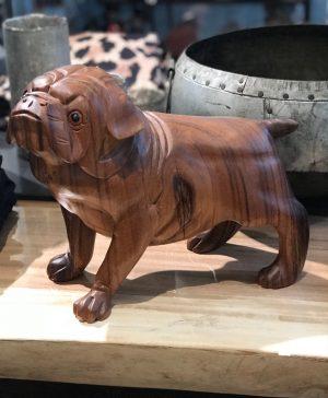bali håndskåret træ hund