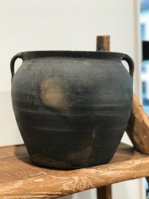by living keramik grå krukke med to hanke