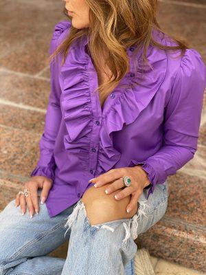 Lilla Anna Queen the ruffle langærmet skjorte med flæse fra Design by Laerke
