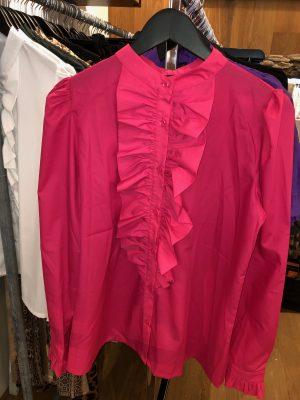 Pink Anna Queen the ruffle langærmet skjorte med flæse fra Design by Laerke