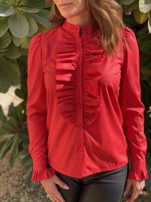Rød Anna Queen the ruffle langærmet skjorte med flæse fra Design by Laerke