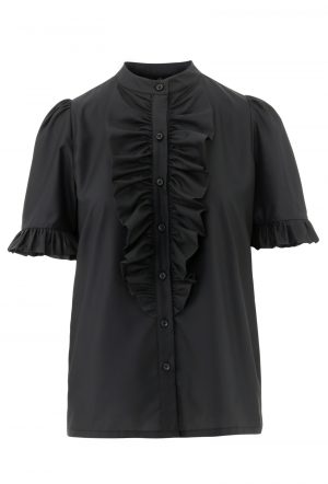 Sort Queen the ruffle kortærmet skjorte med flæse fra Design by Laerke