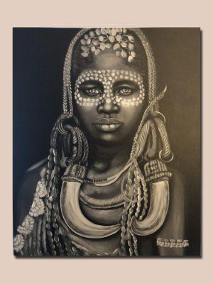 Håndlavet maleri fra Bali med stamme kvinde