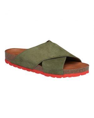 Tim&Simonsen Annet sandaler i army grøn ruskind og rød sål