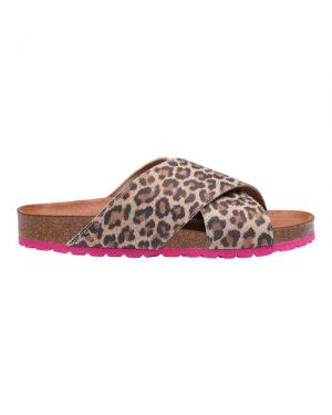 Tim&Simonsen Anett sandaler i lys leopard print og pink sål