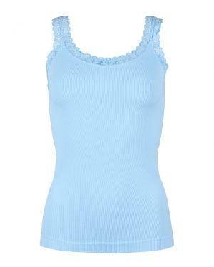 Lys blå Rib Top med fin blondekant fra Tim&Simonsen