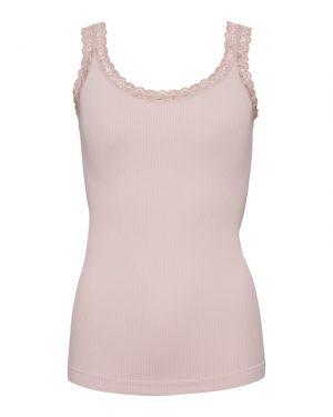 Pudder rosa Rib Top med fin blondekant fra Tim&Simonsen