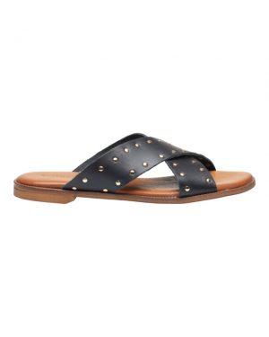 Tim&Simonsen Tine stud slip-in sandaler i sort skind og sølvfarvet nitter