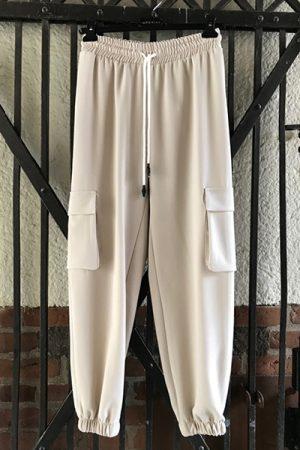 Imperial P9990032L joggingpants beige bukser med lommer og snøre i taljen
