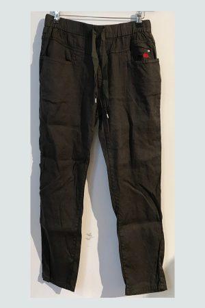 Kaki farvet Bille Linen bukser med lommer fra Me369