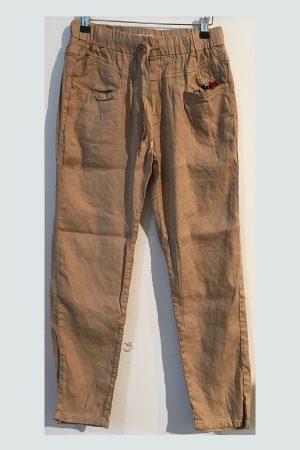 Sandfarvet Bille Linen bukser med lommer fra Me369