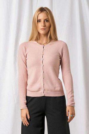 Piro strik cardigan med knapper i rosa