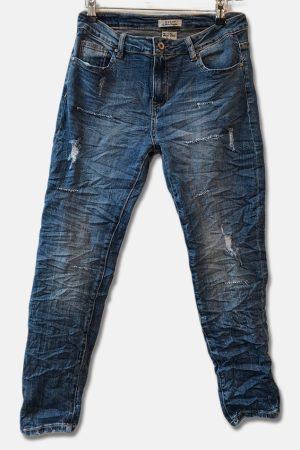 Blå slim fit jeans med slid model 997 fra Piro
