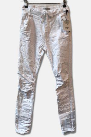 Piro hvid jeans 512A med spænder i siden