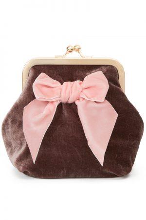 Sonja Love velvet velour clutch og kosmetukpung chocolate/rose