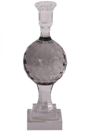 Cest Bon krystal lysetage på fod i grå med graveringer