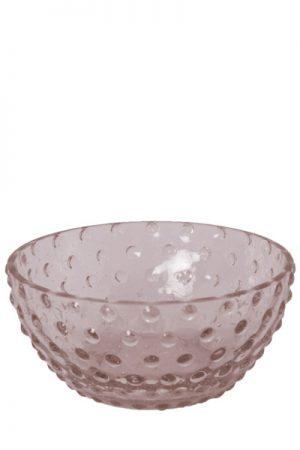 C´est Bon glasskål med bobler i lys pink glas.