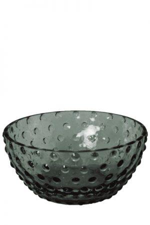 C´est Bon glasskål med bobler i røgfarvet glas.