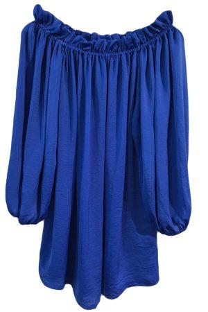 Design By Laerke bluse med lange ærmer der kan trækkes ned over skulderne i blå