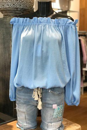 Design By Laerke bluse med lange ærmer der kan trækkes ned over skulderne i lys blå