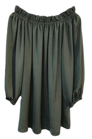 Design By Laerke bluse med lange ærmer der kan trækkes ned over skulderne i oliven grøn