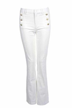 Fine Copenhagen hvid Robin jeans med guldknapper. Hos By Schytte i Aarhus
