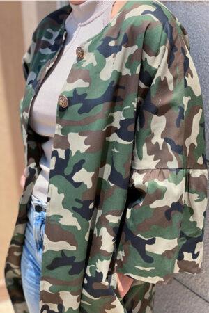 Design by Laerke mellemlang jakke i camouflage