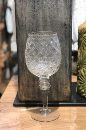 Glaspokal i klar glas med relief. Højde 30 cm.