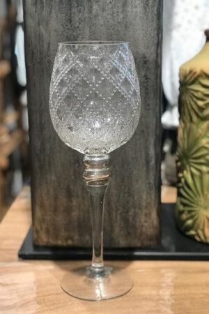 Glaspokal i klar glas med relief. Højde 35 cm.