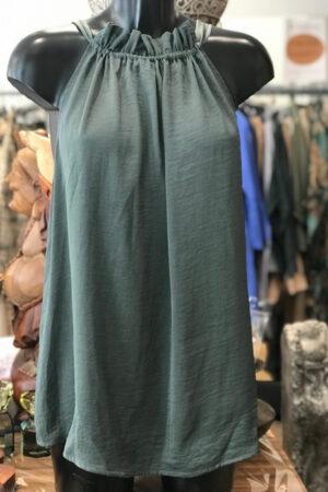 Design by Laerke støvet grøn tie top uden ærmer