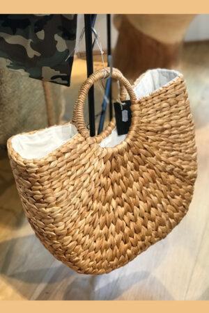 Bali håndlavet flettet taske med hank og stof indvendigt