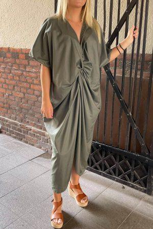 Design by Laerke army grøn Afrodite kjole med knude of korte ærmer