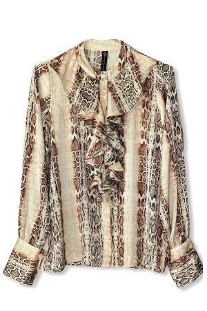 Desihn by Laerke langærmet skjorte med flæse i slangemønster
