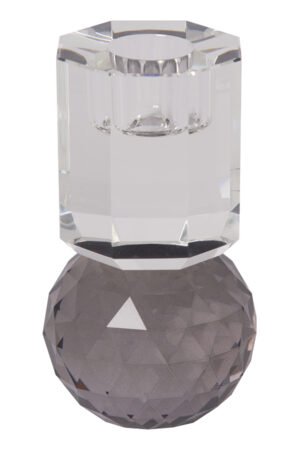 C´est bon krystalstage til stagelys i grå/klar 10,5x6 cm