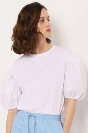 Imperial hvid T-shirt med korte puffede ærmer og rund hals