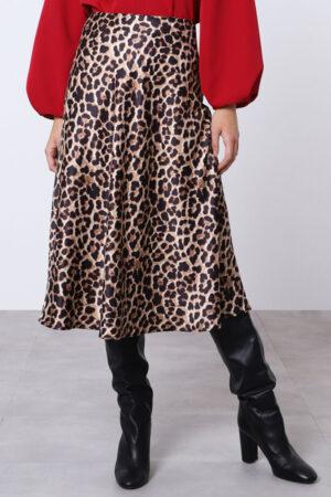 Imperial nederdel med leopard print og med vidde i
