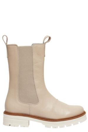 Tim & Simonsen Ella Long Boot i beige. Lang skindstøvle med elastik i siderne