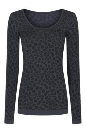 Tim & Simonsen langærmet T-shirt med grå gepardprint