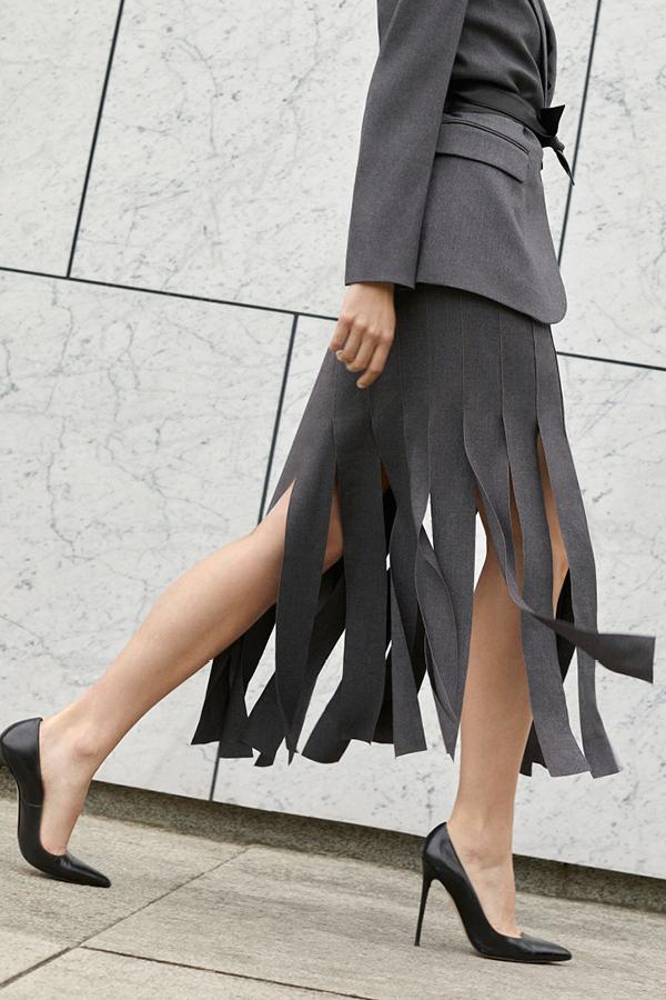 Copenhagen Muse grå nederdel med brede paneller CMTAILOR