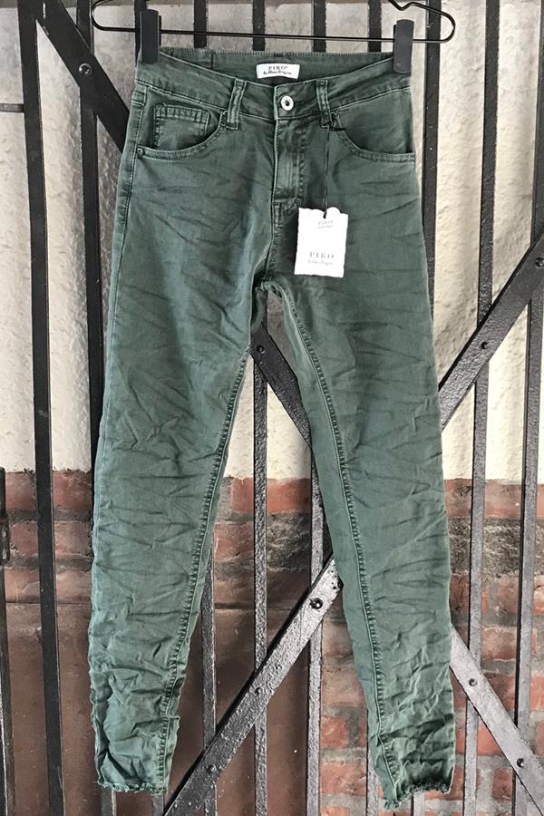 Piro Army grøn jeans PO1225-3 med rå buksekant