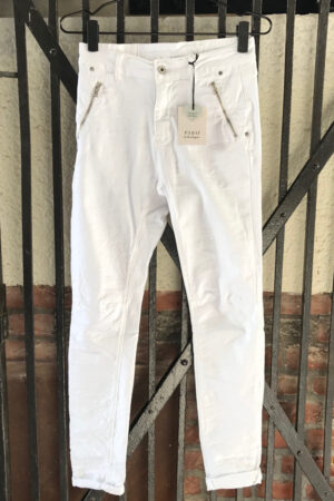 Piro hvide jeans PB100A med strå lynlåslommer og baglommer