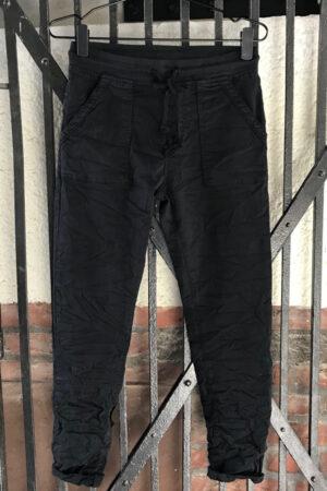 Piro sort jeans med store lommer PB681A med elastik og bindebånd i taljen