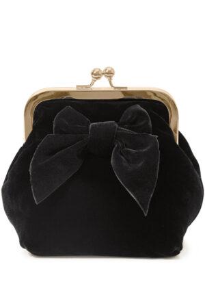 Sonja Love velour clutch og kosmetikpung i sort med sort sløjfe